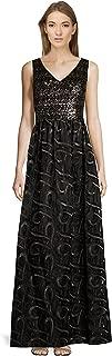 David Meister Sequin Embellished V-Neck Sleeveless Evening Gown Dress