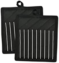 DII Professional and Commercial Grade Chef Stripe Kitchen, Potholders, Black 2 Piece