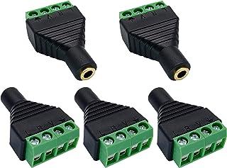 AAOTOKK 4 Pole 3.5mm Screw Terminal 3.5mm (1/8) Stereo TRRS Audio Female to AV 4 Pin Female Screw Terminal Double Track Headphone Balun Solderless Converter Adapter(5 Pack/Female)