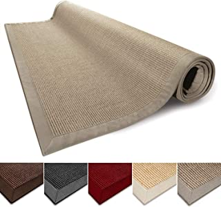 casa pura Sisal Rug Runner - 100% Natural Fiber Area Rug | Non-Skid Rustic Entryway Rug, Living Room Carpet or Kitchen Rugs and Sizes | Cork - 4'x6'