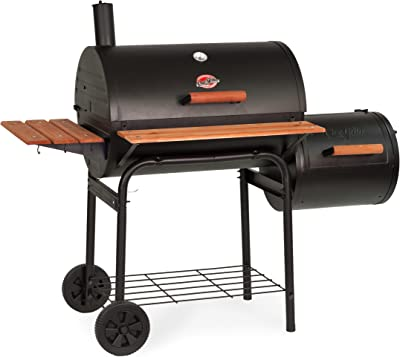 Char-Griller E1224 Smokin Pro 830 Square Inch Charcoal Grill with Side Fire Box, 50 Inch, Black