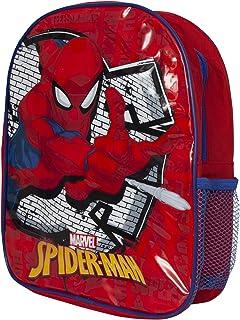 Mochila de 31 cm de Marvel Spiderman con bolsillo lateral de malla para niños