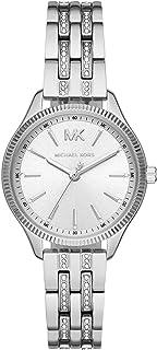 ساعة انالوج من مايكل كورس ليكسينغتون بمينا ابيض وسوار من الستانلس ستيل للنساء - طراز MK6738