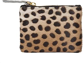 Genuine Leopard Animal Print Calf Hair Leather Coin Wallet Small Purse
