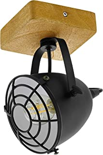EGLO Lámpara de techo Gatebeck, 1 lámpara de techo vintage, industrial, retro, lámpara de techo de acero en negro y madera natural, lámpara de salón, lámpara de cocina con casquillo E14