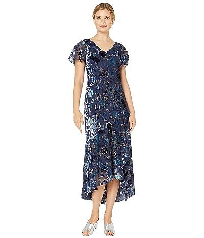 Alex Evenings Long Velvet Burnout Dress with High-Low Hem Detail (Navy/Multi) Women