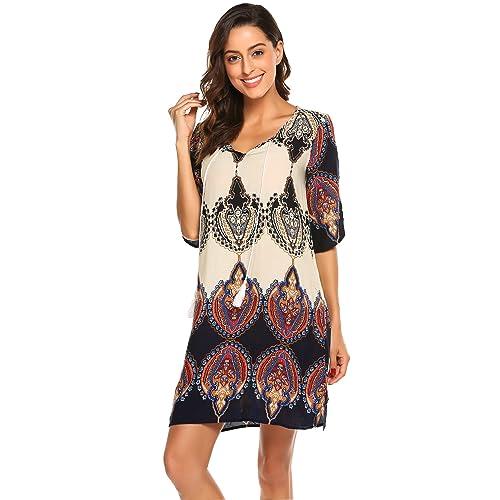 815b96ef70af Halife Women s Vintage Ethnic Style Printed Tassel Tie Neck Loose Fit  Bohemian Tunic Dress