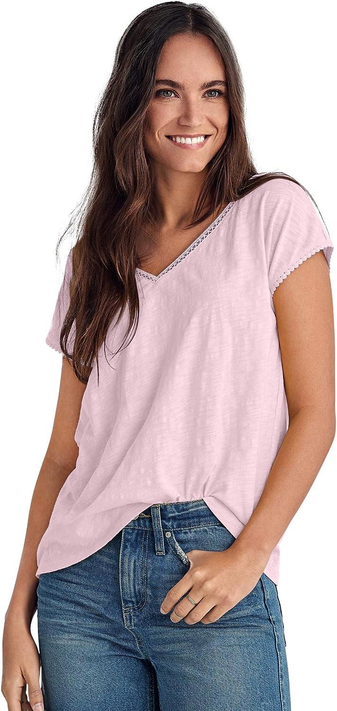 ellos Women's Plus Size Crochet Trim Tee T-Shirt