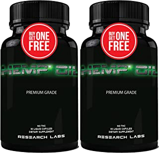 Research Labs 450,000 MG Premium Hemp Oil Capsules, Buy 1 GET 1 Free! 100% Organic All Natural, Anxiety Pain Stress Relief