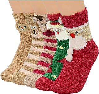 Century Star Women's Christmas Holiday Socks Winter Athletic Socks Cotton Knit Crew Xmas Slipper Socks Fuzzy Socks