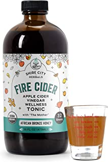 Fire Cider, Tonic, 16 oz with shot glass, African Bronze flavor, 32 Daily Shots, Apple Cider Vinegar, Whole, Raw, Organic,...