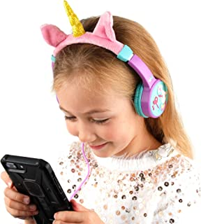 DURAGADGET Kids' Volume Limiting Unicorn Headphones with Audio Sharing Port & Padded Adjustable Headband - Compatible with Lexibook Disney Princess Rapunzel CD Player for Kids