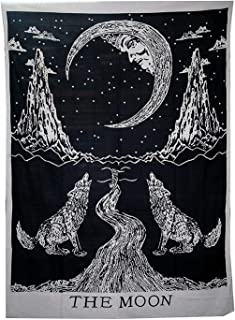 Crying Wolf and Moon Tarot Tapestry Wall Hanging, Indian Cotton Throw/Black and White Moon Tapestries Hippie Mandala, Boho Bedding Bohemian Bedspread, Y ((30 X 40 inches Approx), Black & White Wolf)