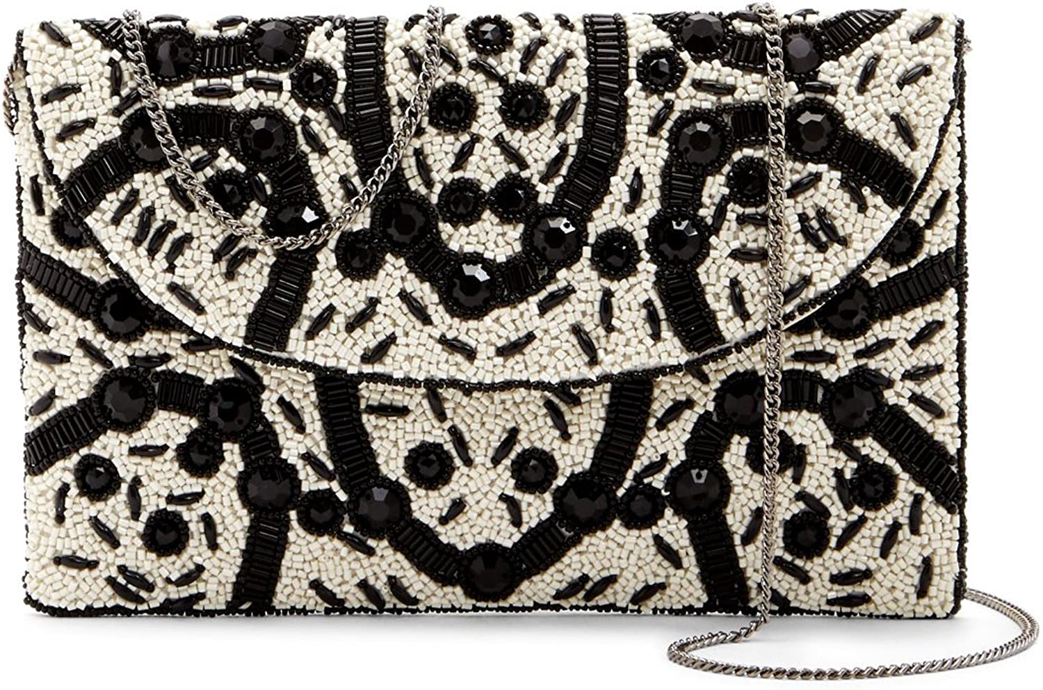 From St Xavier Elma Beaded Evening Clutch, Black Ivory