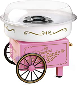Nostalgia PCM306PK Vintage Hard and Sugar Free Countertop Original Cotton Candy Maker, Includes 2 Reusable Cones, Scoop – Pink