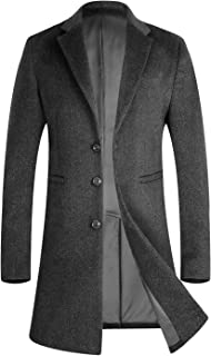 APTRO Men's Winter Stylish Long Slim Fit Luxury Wool Trench Coat Long Jacket