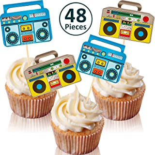 48 Pieces Boom Box Cupcake Toppers 80's Party Cupcake Toppers for 80s 90s Hip Hop Party Decoration