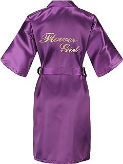 EPLAZA Gold Glitter Flower Girl Satin Bridal Robe Solid Color Wedding Sleepwear
