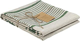 100 Percent Flax Linen Bath Towel 27 x 55 inches, Softened, Natural Grey Color with Green Olive Stripes