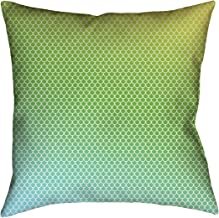 """ArtVerse Katelyn Elizabeth Yellow, Green, Blue Mermaid Scales 20"""" x 20"""" Cotton Twill Double sided print with concealed zipper & Insert Pillow, Multi Colored"""