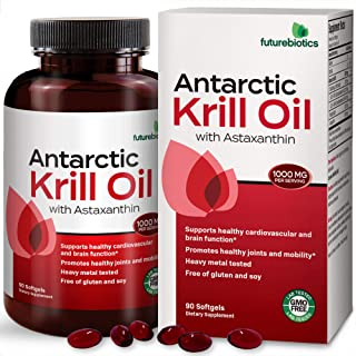 Futurebiotics Antarctic Krill Oil with Omega-3s EPA, DHA, Astaxanthin and Phospholipids - 100% Pure Premium...