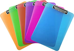 Trade Quest Plastic Clipboard Transparent Color Letter Size Low Profile Clip (Pack of 6) (Assorted)
