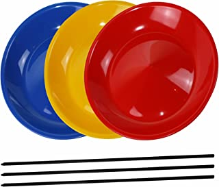 3 Spinning Plates / Juggling Plates with 3 Plastic Sticks, Mixed Colors, Sold by SchwabMarken