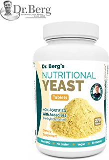 Nutritional Yeast Tablets – Non-Fortified – B-Vitamin Complex – Natural B12 Added – 270 Tablets – No Gluten – Vegan – Non-GMO – Non Synthetics