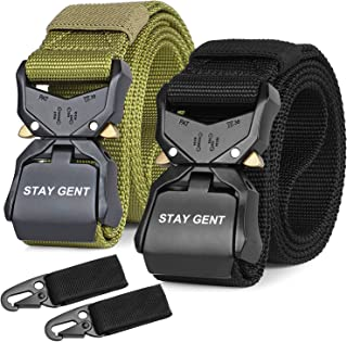 STAY GENT 2 Pack Tactical Belt for Men, Black Quick Release Military Style Belts with Buckle, Heavy Duty Nylon Webbing Wor...