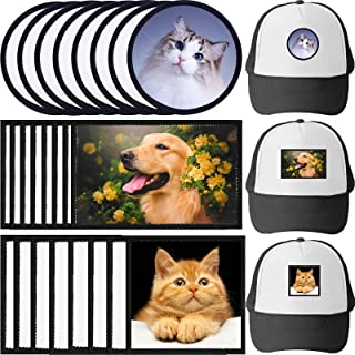 24 Pieces Sublimation Patches Blanks for Hat Patches 3 Shapes Iron-on Repair Patch Sublimation Blanks Back with Heat Resis...