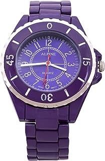 Alpine Unisex Purple Metal Strap & Bezel Analog Watch Japanese Quartz Fold-Over Clasp Extra Battery