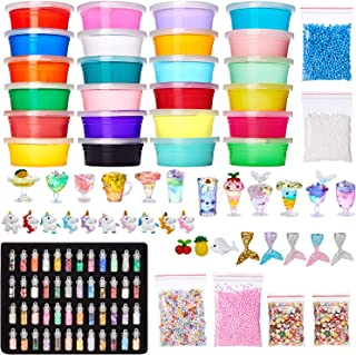 Theefun DIY Unicorn Slime Kit -Slime Suppliers for Girls , Including Crystal Slime, Cloud Slime Container, Glitter Powder , Fruit Slice, Foam Balls for Slime, Interesting Squeeze Stress Relief Toy