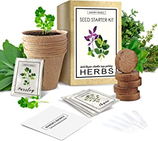 Indoor Herb Garden Starter Kit - Non GMO - Seed Packets, Pots, Markers, Soil Mix - Fresh Basil, Cilantro, Parsley, Sage, T...