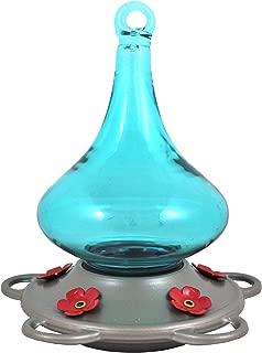 Bird Splendor U05030031 Classic Brands Paradise Decorative Glass Humming Bird Feeder, 12 Fluid Ounce, Blue/Silver