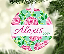 DKISEE Lilly Pulitzer Inspired Christmas Ornament, Lily Pulitzer Preppy Personalized Gift, Christmas Tree Ornament, Preppy Prints Holiday Decor 3.1 Inch