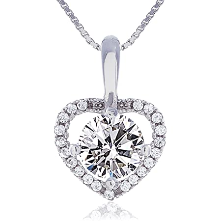 LUNAROSE 925 Sterling Silver Heart Necklace for Women Crystal Gem Cubic Zircon Pendant Jewellery Chain 18 Inch Chain 2 Inch Extender in Velvet Box
