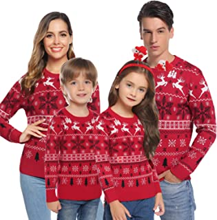 Hawiton Women Girls Ugly Christmas Sweater Long Sleeve Xmas Snowflakes Festive Pullover for Family Matching Sweaters