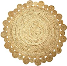 Green Decore Handmade Braided Round Natural Fiber Jute Rug (Artisan Natural, 4 feet Diameter)