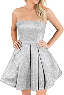 JONLYC Glitter A-Line Strapless Open Back Short Homecoming Dresses for Juniors