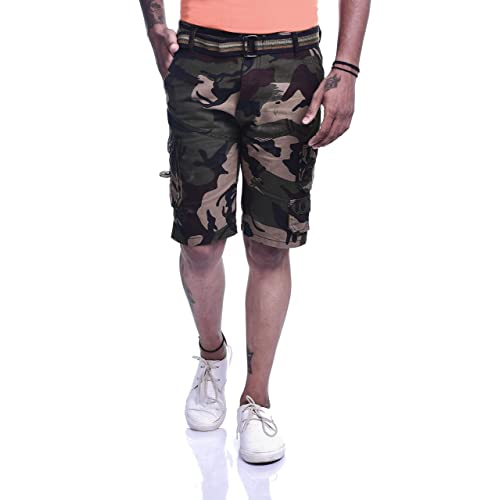 70a2ba5093 Timbre Men Stylish Army Print Camouflage Knee Length Cotton Cargo Shorts