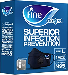 Fine Guard N95 Adult Face Mask With Livinguard Technology, Infection Prevention – Size Large