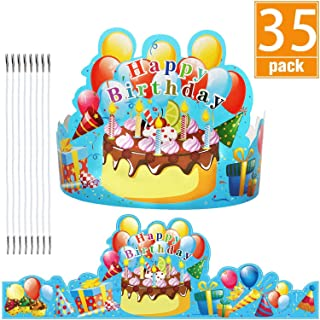 JTIEO Birthday Crowns Party Hats for Kids Classroom School VBS Party Supplies Pack of 35 Blue