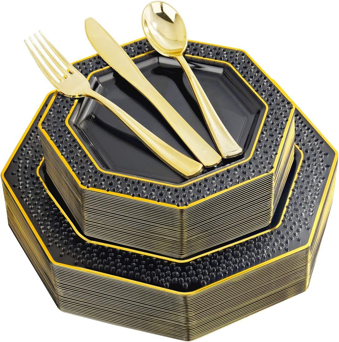 I00000 Popular brand in the world 150 Pieces Black Gold Plastic Si Limited price sale Disposable Plates