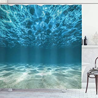 Ambesonne Ocean Decor Collection, Bright Gravelly Bottom and Wavy Surface Tropical Seascape Abyss Underwater Picture, Polyester Fabric Bathroom Shower Curtain, 75 Inches Long, Blue Aqua Ivory