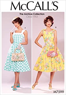 McCall's M7599A50 Misses' Lined Flared Dresses with Petticoat, 6-8-10-12-14