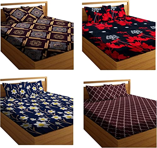 HIYANSHI HOME FURNISHING Combo Set of 4 Super Soft Microfiber Double Bedsheet with 8 Pillow Covers,Colour-Multi