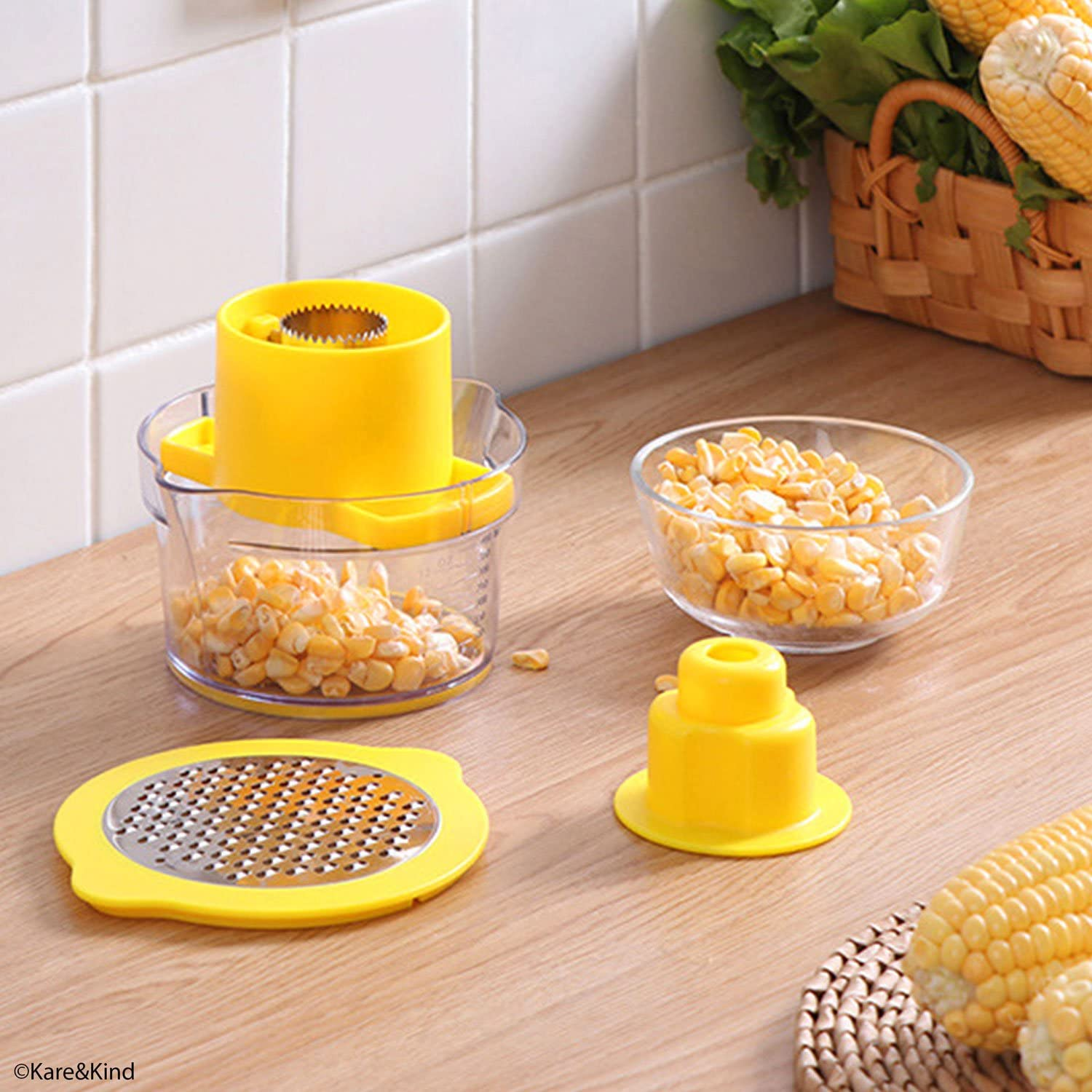 Corn on the Cob Grips with Interlocking Design for Safety and Storage Perfect for Salads BBQ 1x Corn Stripping Tool and 4x Corn Holder Pins etc. Corn Stripping /& Holders