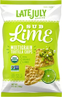 LATE JULY Snacks Multigrain SUB Lime Tortilla Chips, 5.5 Ounce Bag, Pack of 12