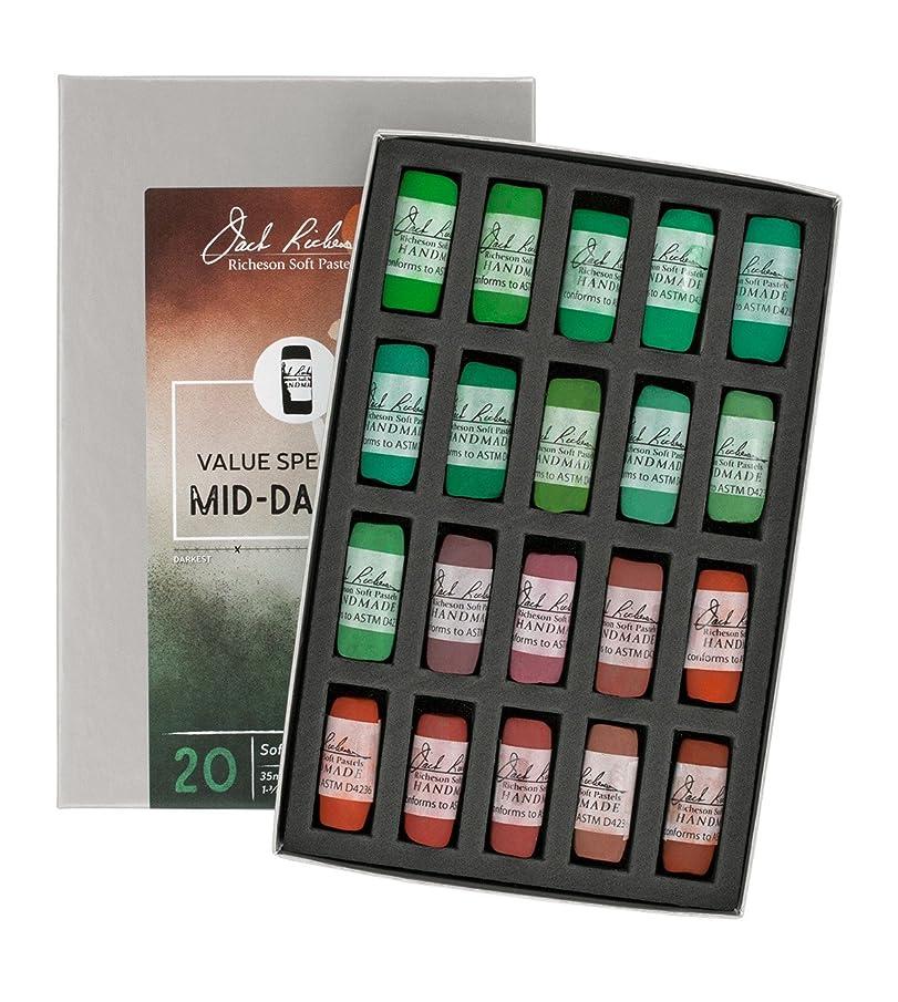 Jack Richeson Hand Rolled Soft Pastels Value Spectrum : Mid-Dark 2, 20 Piece Set