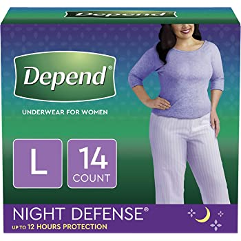 Depend Night Defense Incontinence Overnight Underwear for Women, L, (Packaging May Vary)